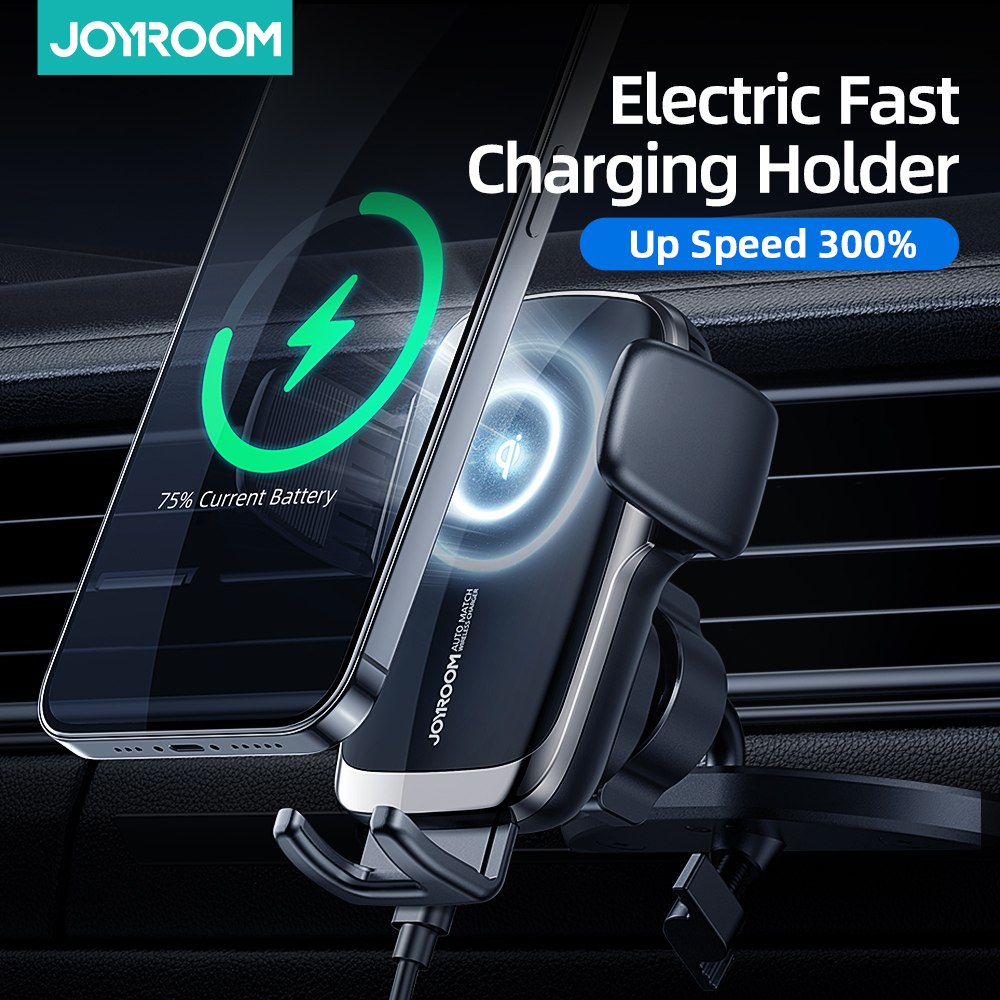 Joyroom 15W Qi Car Phone Holder Wireless Car Charger Automatic Alignment Car Mount CD Air Vent Mount Car Charger Universal