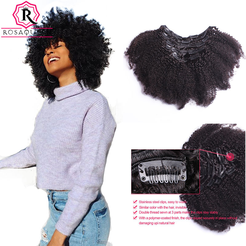 Afro Kinky Curly Clip In Human Hair Extensions 4B 4C Clip Ins Full Hair Remy Hair Natural Black Hair Rosa Queen Hair Products