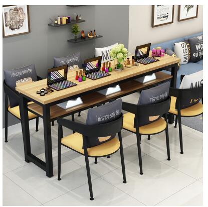 Маникюрный Стол и стул набор простой современный двойной черный маникюрный магазин стол специальная цена ретро Маникюрный Стол одиночный - Цвет: 180 cm6 chairs