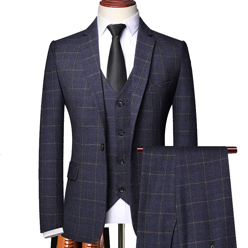 Party Office Business Fit Suit Men Autumn 3 Slim Pieces Groom Casual Spring Plaid Check Wedding Formal Suits Work Prom Shenrun