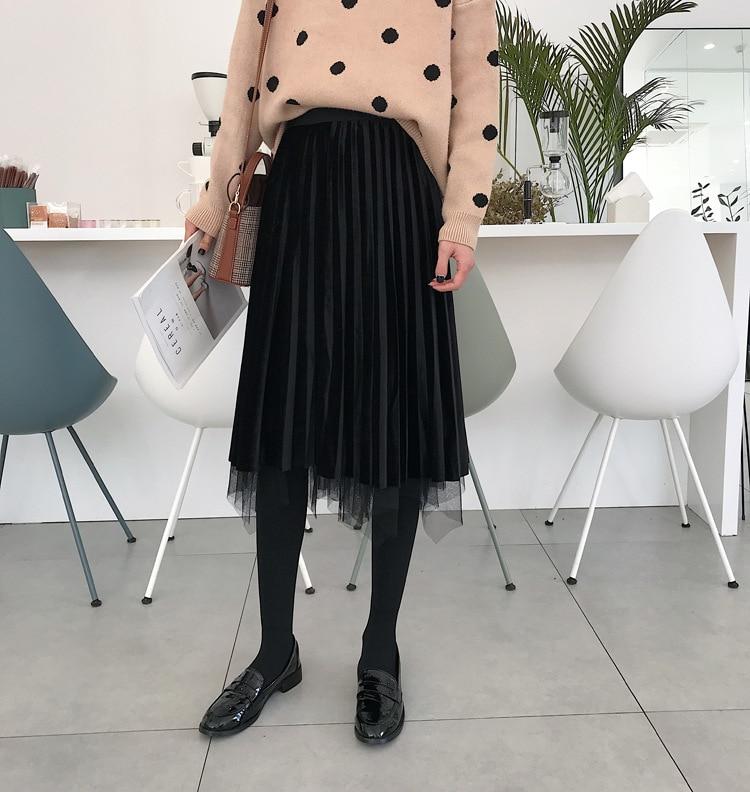 Photo Shoot ~ Spring And Winter Korean-style Mid-length And Negative Double Purpose Gold Velvet Gauze Skirt Long Skirts Student'