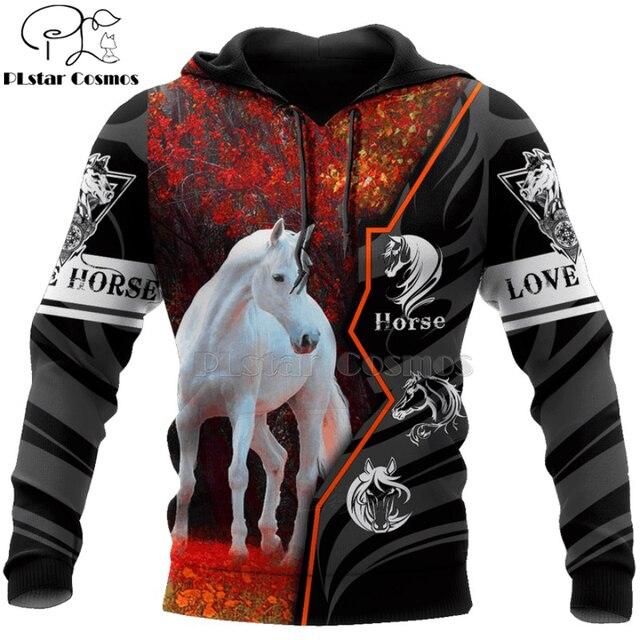 hot sale Men women beautiful horse racing limited edition 3d zipper hoodies long sleeve Sweatshirts jacket pullover tracksuit-14