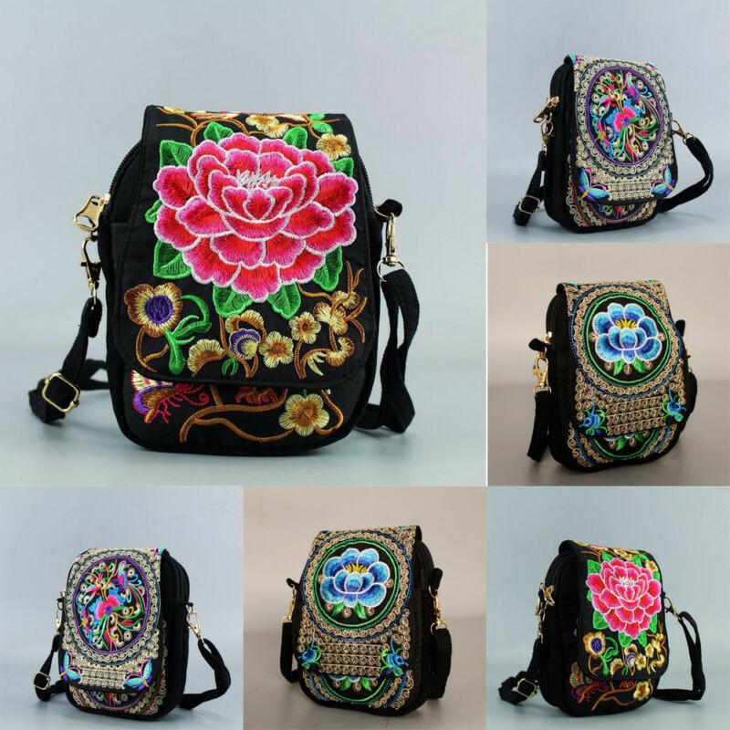 Женская вышитая сумка через плечо, винтажный цветочный Чехол для мобильного телефона, дамские сумочки в этническом стиле, повседневная дорожная сумка через плечо для девочек|Сумки с ручками|   | АлиЭкспресс