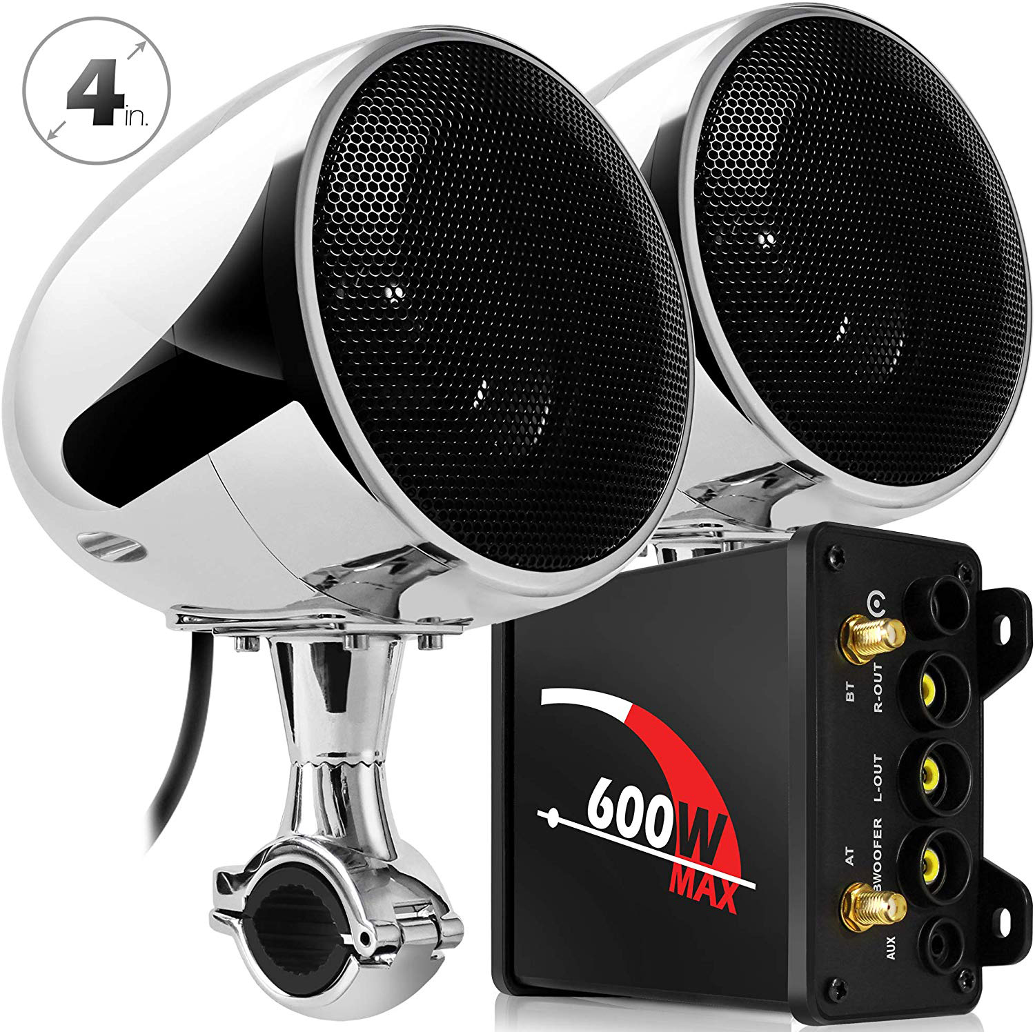 Aileap M600N Motorcycle Audio System with 600W Subwoofer Amplifier and Two Stereo Speakers Support Bluetooth FM Radio AUX MP3