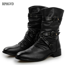 New Fashion Men Leather Boots British Style Motorcycle Boots For Men Solid Black Platform Rubber Shoes Street Punk Boots