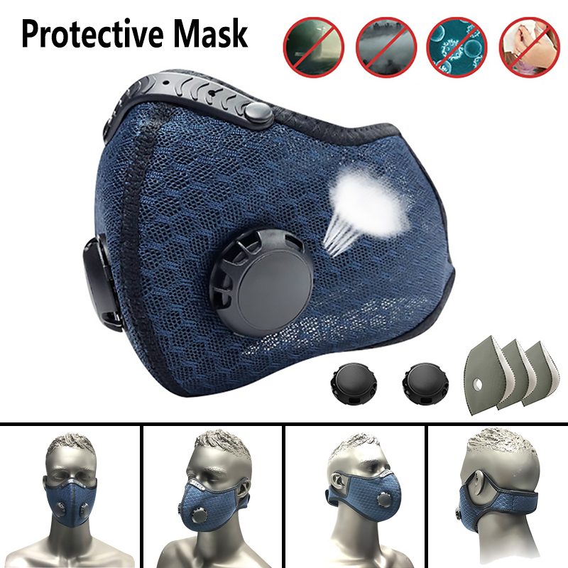 Air Mask With Replaceable Filter Protective Mask Riding Mask With Valve Super Dust Mask Adjustable Non-disposable Masks