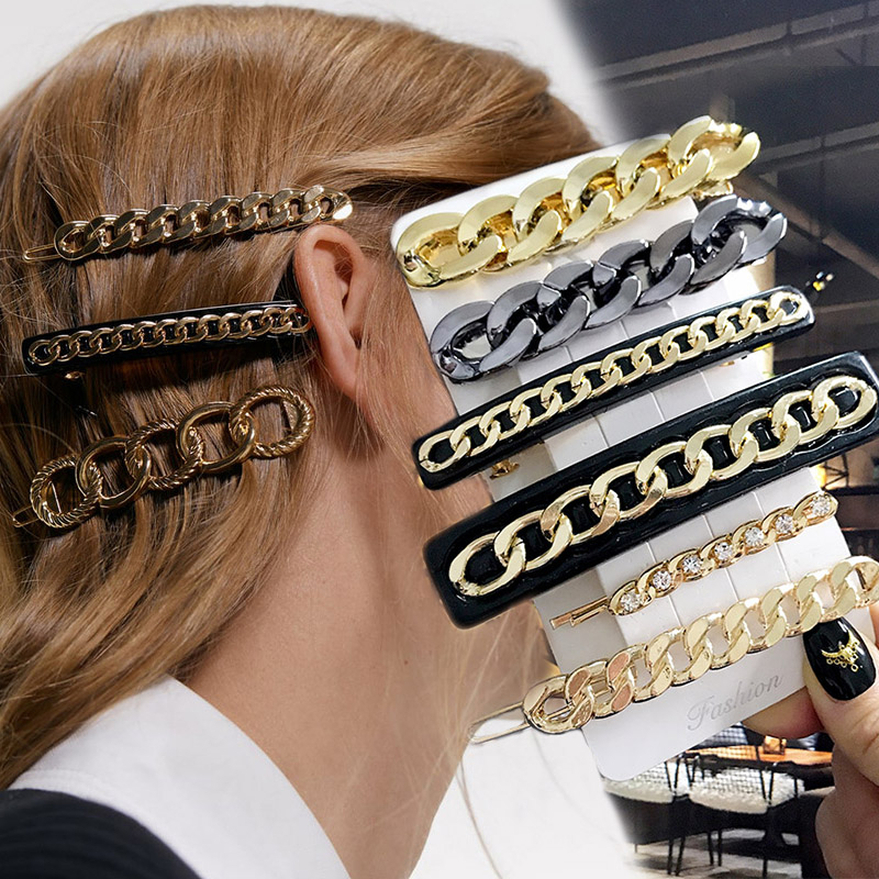New ZA Brand Hair Accessories For Women Barrettes Gold Chain Design Punk Hair Clip Bobby Pins Fashion Jewelry Vintage Ornaments