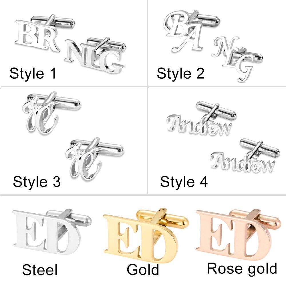 Personalized Letter Name Cufflinks Custom Initials Cuff links Buttons Wedding Gifts LOGO Mens Shirt Cufflink Men Jewelry Cuffs(China)