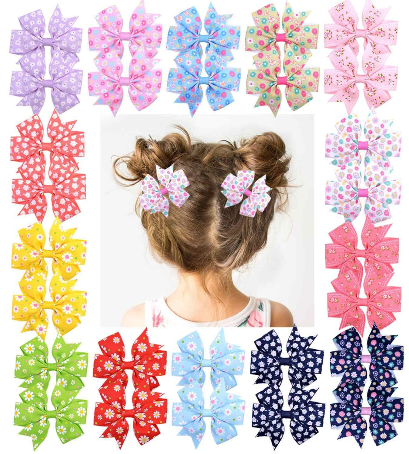 1Piece Grosgrain Ribbon Hair Bows With Clip For Baby Girls Printed Flower Hair Clips Handmade Barrette Headwear Hair Accessories