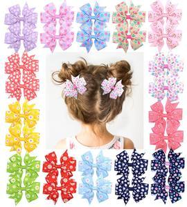 1Piece Grosgrain Ribbon Hair Bows With Clip For Baby Girls Printed Flower Hair Clips Handmade Barrette Headwear Hair Accessories