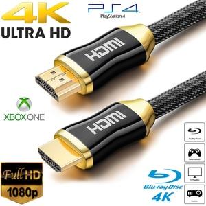 5m 10m de alta calidad trenzado Cables HDMI 4K V2.0 Ultra HD HDMI a HDMI Cable para HD TV LCD portátil proyector de ordenador NE