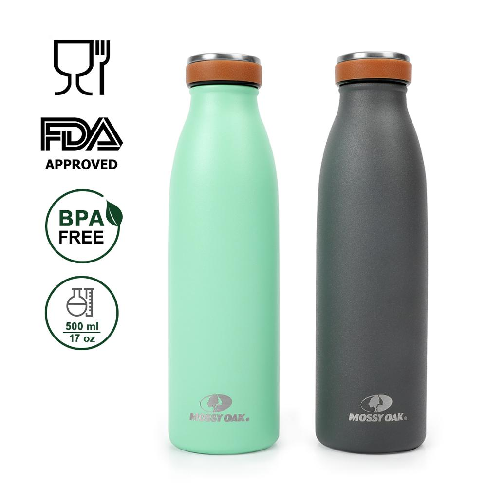 MOSSY OAK 2 Pack Water Bottle Vacuum Insulated Stainless Steel Cola Shape Leak proof Triple Walled Bottle in Vacuum Flasks Thermoses from Home Garden