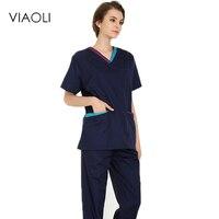 New women and men Medical Uniforms Nursing Scrubs Clothes short Sleeve coat Doctor Clothing Brush hand clothing Stitching
