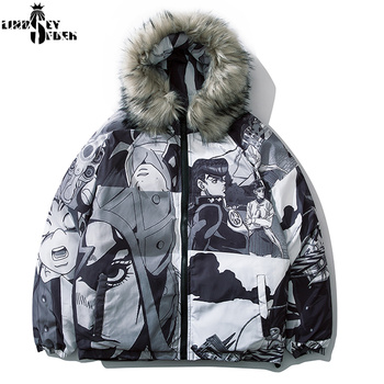 Lindsey Seader Cotton Padded Removable Fur Hooded Parkas Coats Winter Fashion Thick Warm Parka Jackets Streetwear Hip Hop Tops
