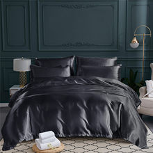 Classic Bedding Set Soft Bed Linens Duvet Cover 2019 Luxury Imitation Silk Solid Bed Sheet Quilt Cover Pillowcase 2-3PCS Black(China)