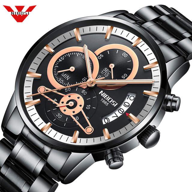 NIBOSI мужские часы лучший бренд класса люкс Хронограф Мужские спортивные часы водонепроницаемые полностью Стальные кварцевые мужские часы Relogio Masculino