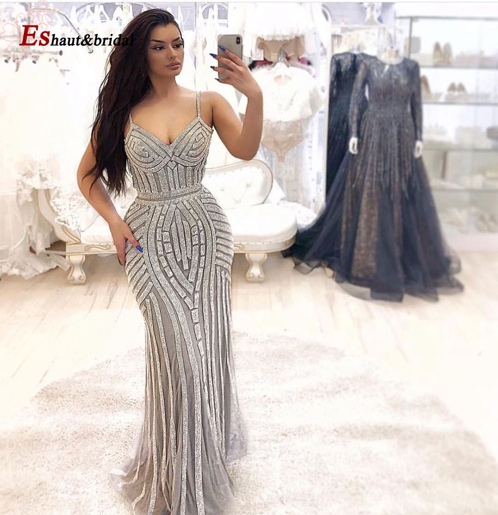 2019 Spaghetti Strap Diamond Mermaid Glitter Party Dress Burgundy Sliver Party Occasion Formal Long Evening Dress