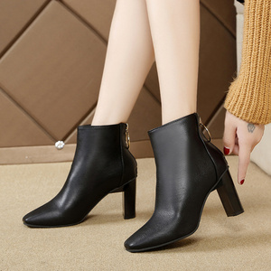 Image 4 - Winter 2019 new Korean version of Joker simple square short boots ring zipper solid color thick heels womens Martins boots