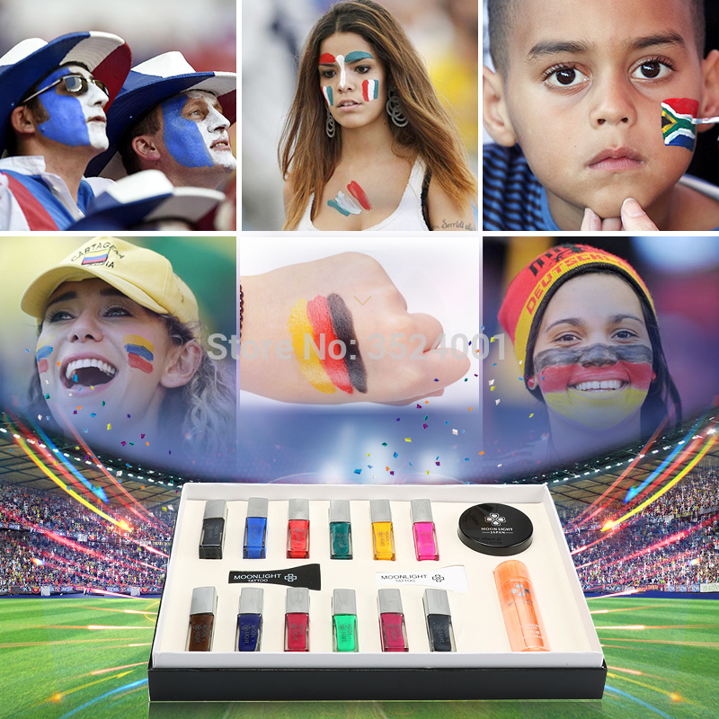 Livraison gratuite 12 couleurs tatouage temporaire corps Art Condensation liquide Kit 12 couleurs de Simulation tatouage ensemble de haute qualité