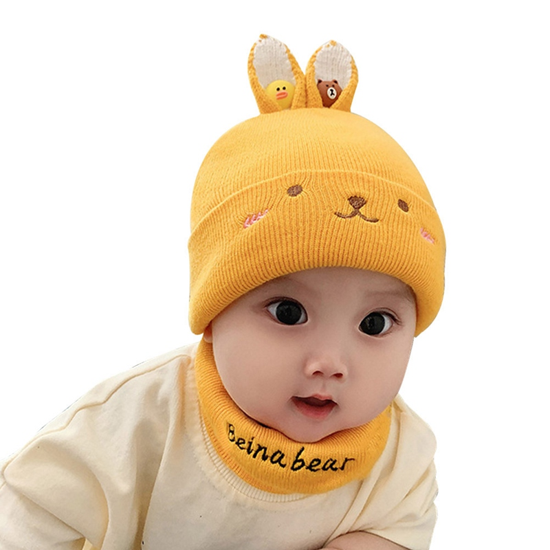2Pcs Set Baby Autumn Winter Hat And Scarf Set Cap Embroidery Cat Earmuffs Warm Hat For Children Neck And Ear
