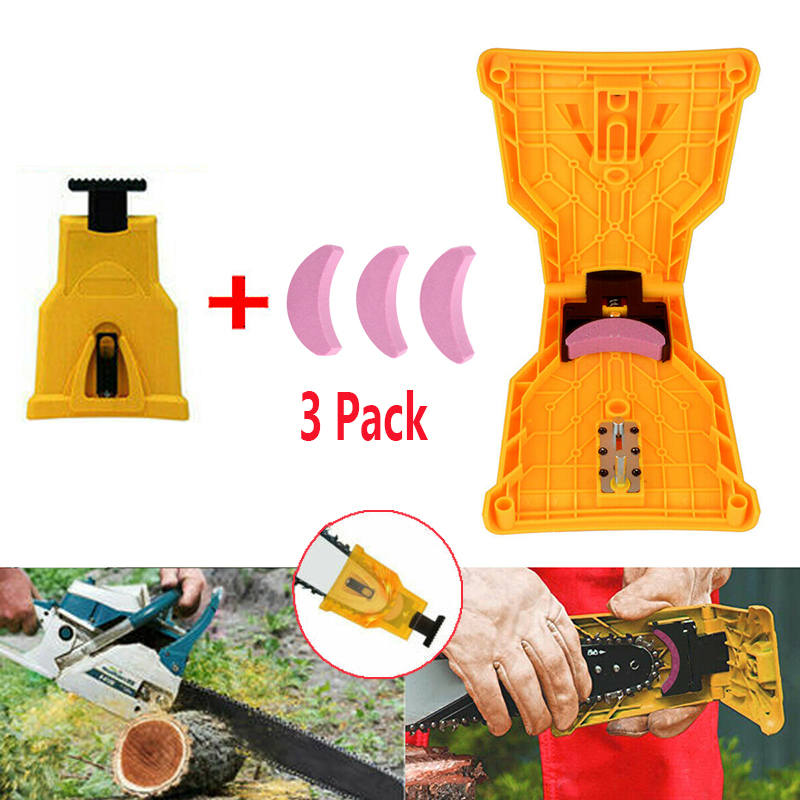 3Pcs Sharpening Chain Saws Teeth Sharpener Grindstone For 14/16/18/20inch Granding Portable Proprietary Bar-Mount Chainsaw Tool