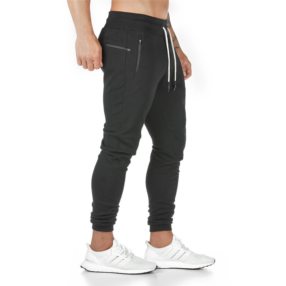Joggers Sweatpants Mens Slim Casual Pants Solid Color Workout Cotton Sportswear Autumn Male Gyms Fitness Crossfit Track Pants