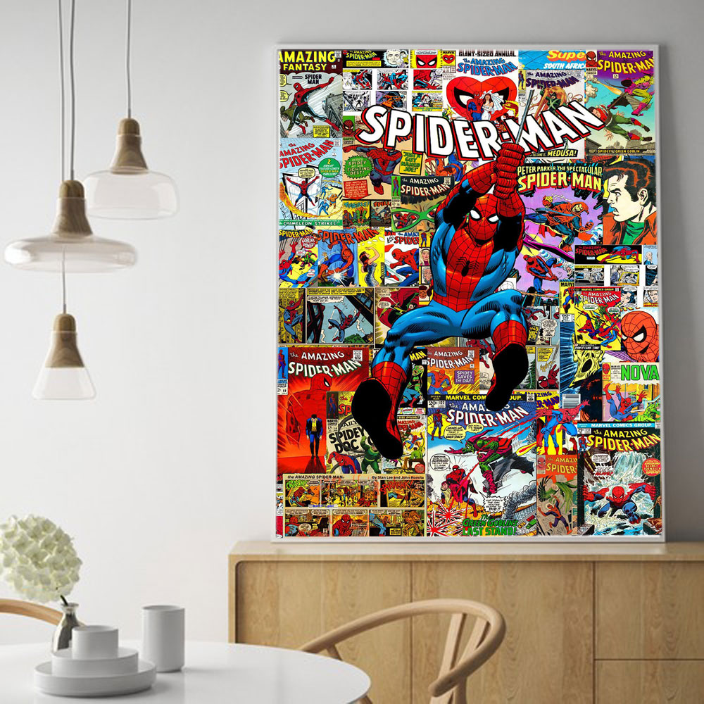 The Amazing Spiderman Marvel Comics Super Hero Collage Canvas Wall Art Spiderman Canvas Painting Print Poster картины на стену image