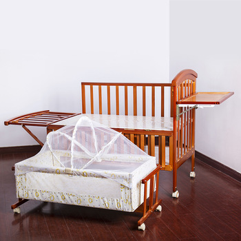 Luxury Pine Solid Wood Logs Baby Crib Adjustable 3 In 1 Stitching Multifunctional Storage Cradle Baby Bed with Guardrail for Kid solid wood children beds with guardrail small infant bedside single widening and splicing kids bed