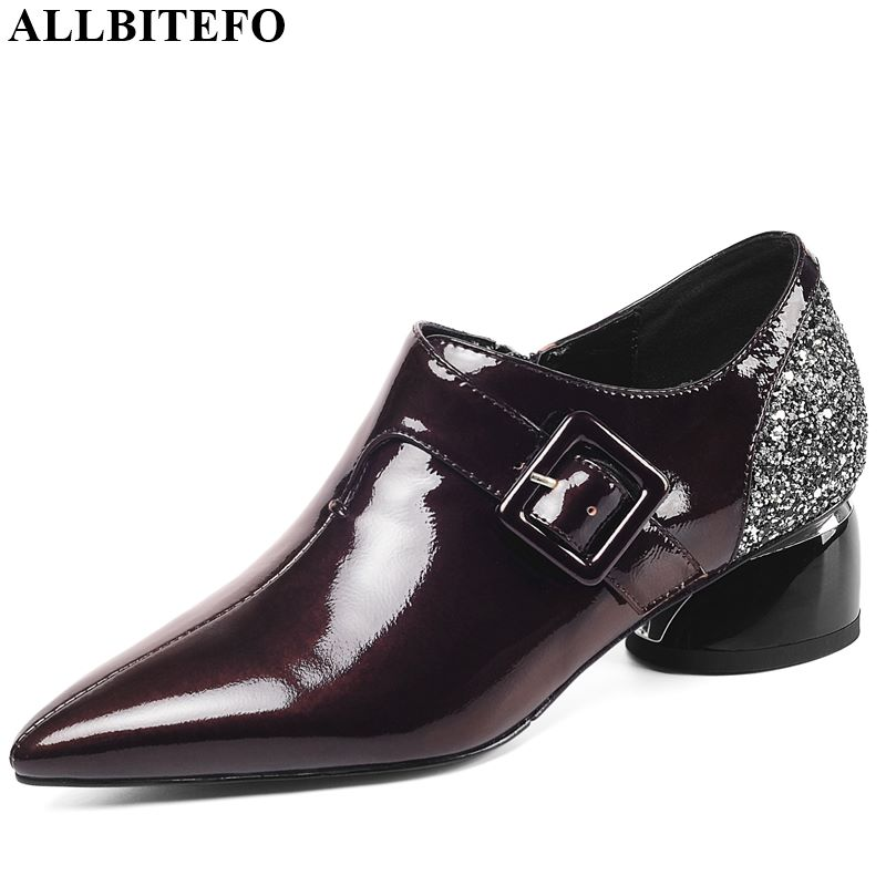 ALLBITEFO Real Genuine Leather Women Heels Spring Autumn High Heel Shoes Metal Fasteners Office Ladies Shoes Pointed Toe