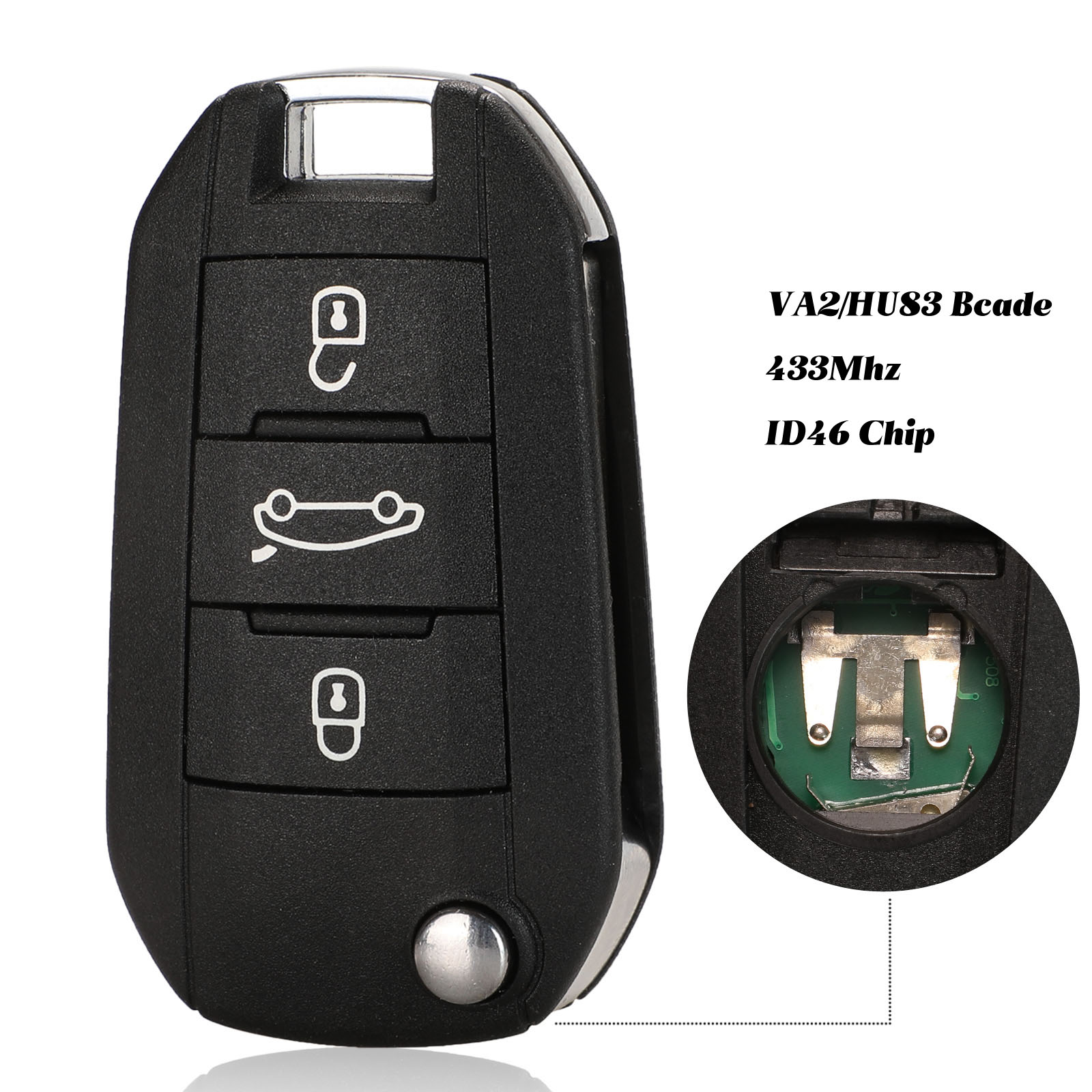 jingyuqin 434MHz ID46 Car <font><b>Remote</b></font> <font><b>Key</b></font> For <font><b>Peugeot</b></font> <font><b>208</b></font> 2008 301 308 5008 508 Hella HU83 Blade image