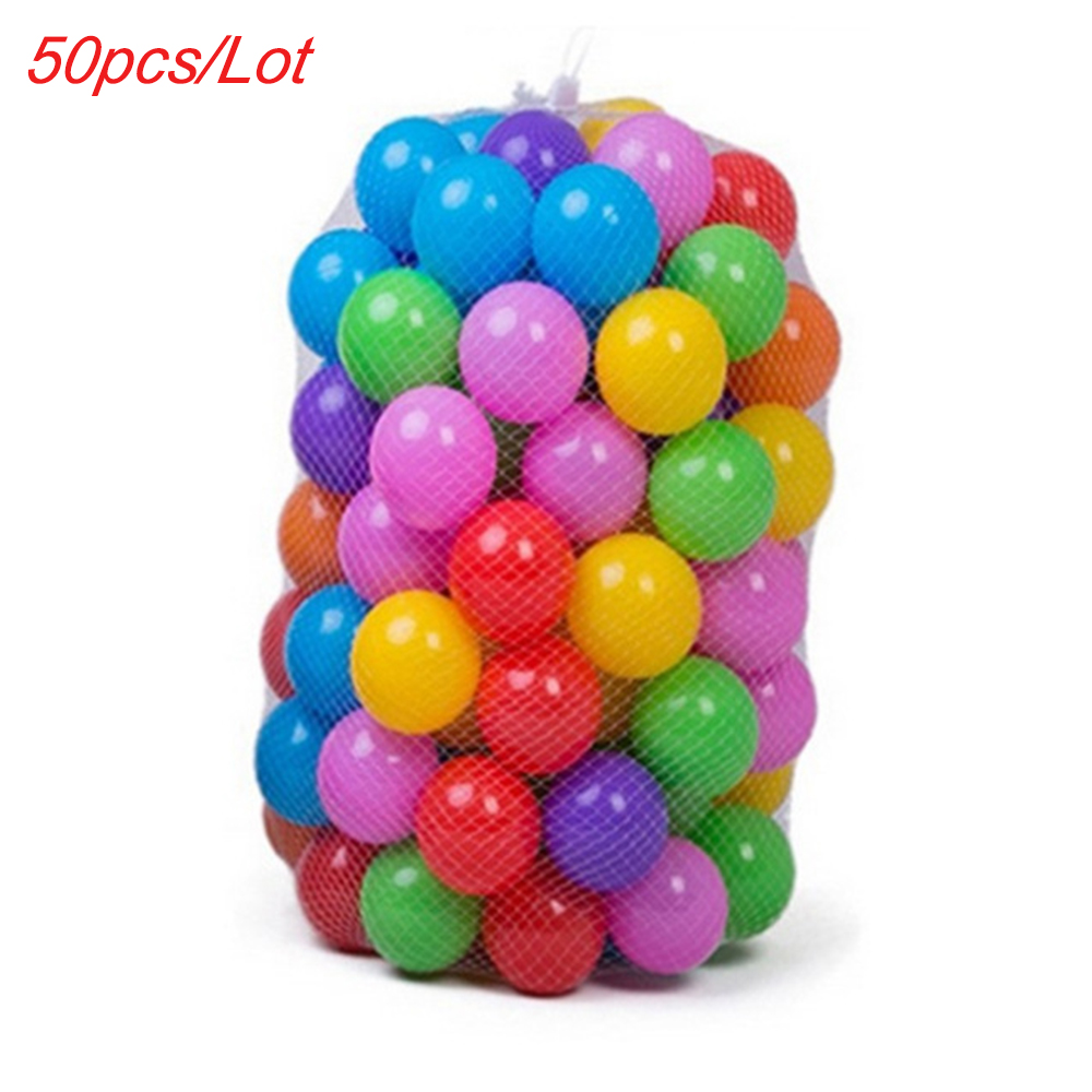 50pcs/Lot Colors Baby Plastic Balls Water Pool Ocean Wave Ball Kids Swim Pit With Basketball Hoop Play House Outdoors Tents Toys