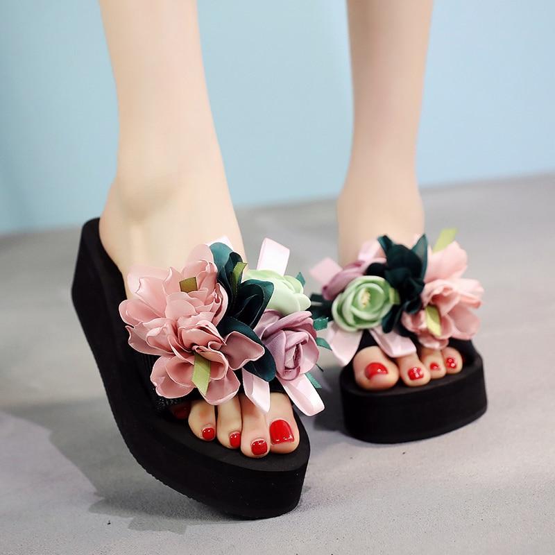 Ladies Women Bow Summer Sandals Slipper Indoor Outdoor Flip-flops Beach Shoes