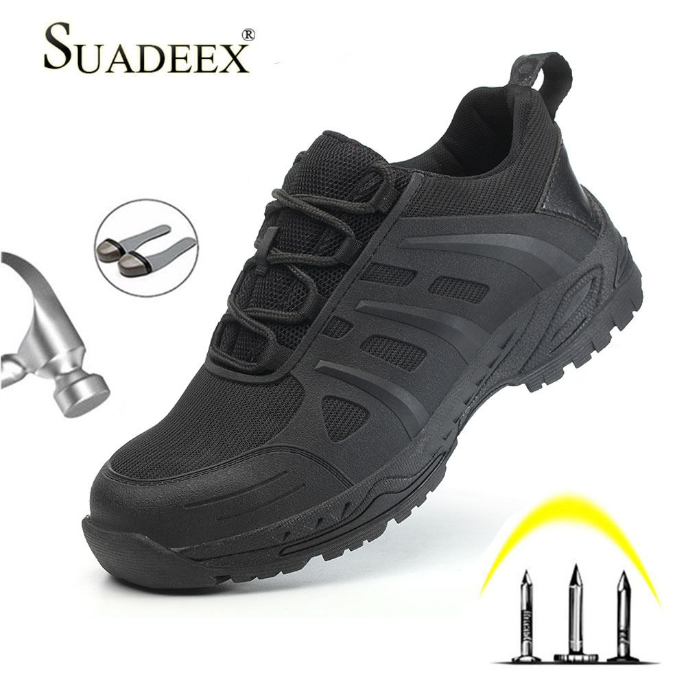 SUADEEX Mens Work Steel Toe Shoes Working Safety Shoes Lightweight Anti-smashing Anti-slip Indestructible Casual Sneakers Boots