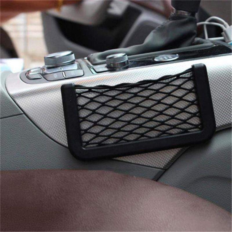 Car Net Pocket Universal Black Car Net Bag Auto Paste Net Pocket Phone Holder Seat Side Pouch For wallet Key Auto Accessories