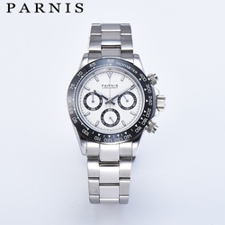 Parnis 39mm Quartz Chronograph Men Watch Top Brand Luxury Waterproof Sapphire Crystal Mens Wrist Watches Relogio Masculino 2019