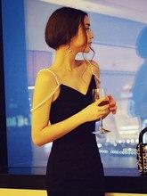 Dress summer new slim off shoulder pearl suspender French retro temperament knee length sexy charming suspender skirt