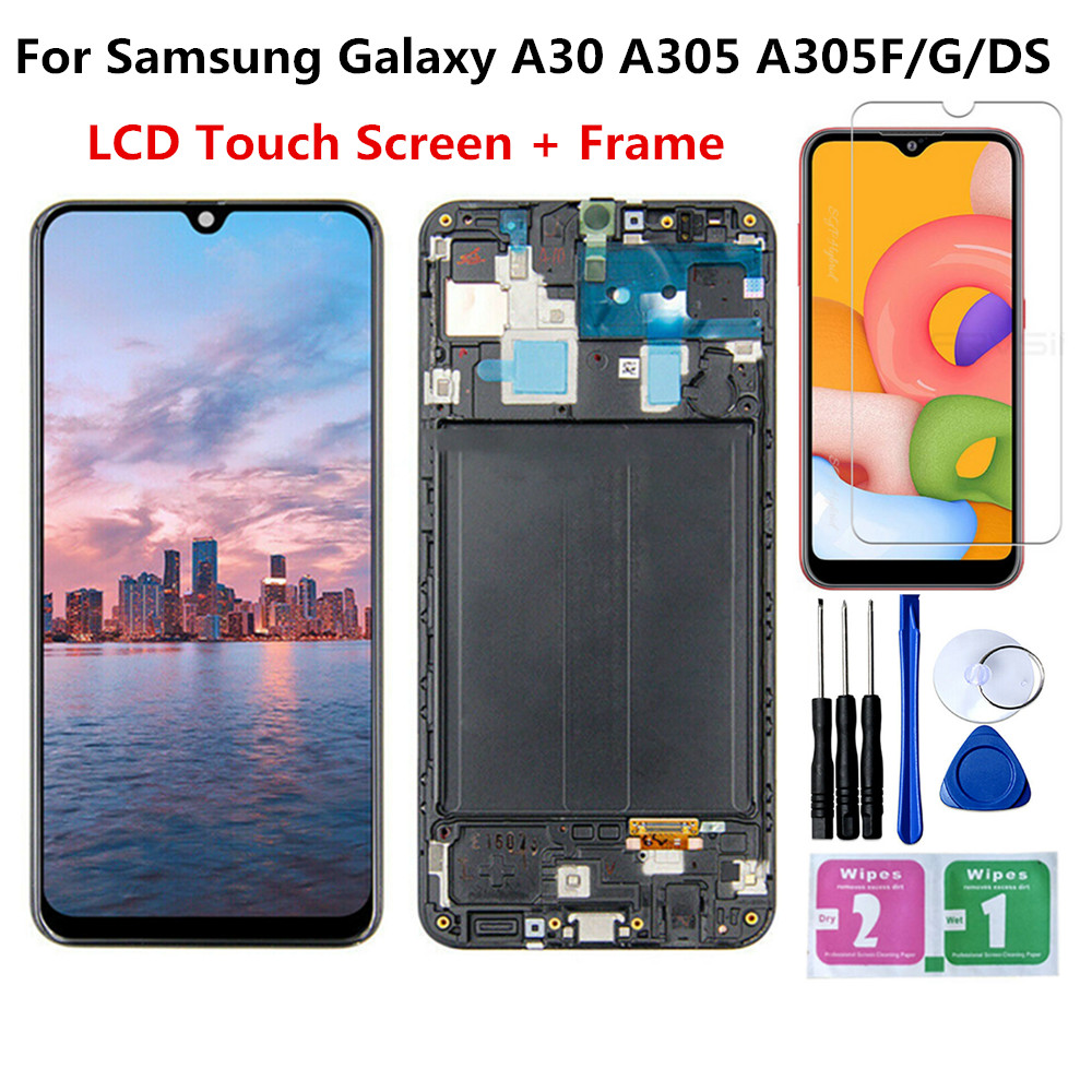 <font><b>LCD</b></font> Display For <font><b>SAMSUNG</b></font> GALAXY <font><b>A30</b></font> A305DS A305FN A305G A305GN A305YN with Touch Screen Digitizer Assembly With Frame Tools image