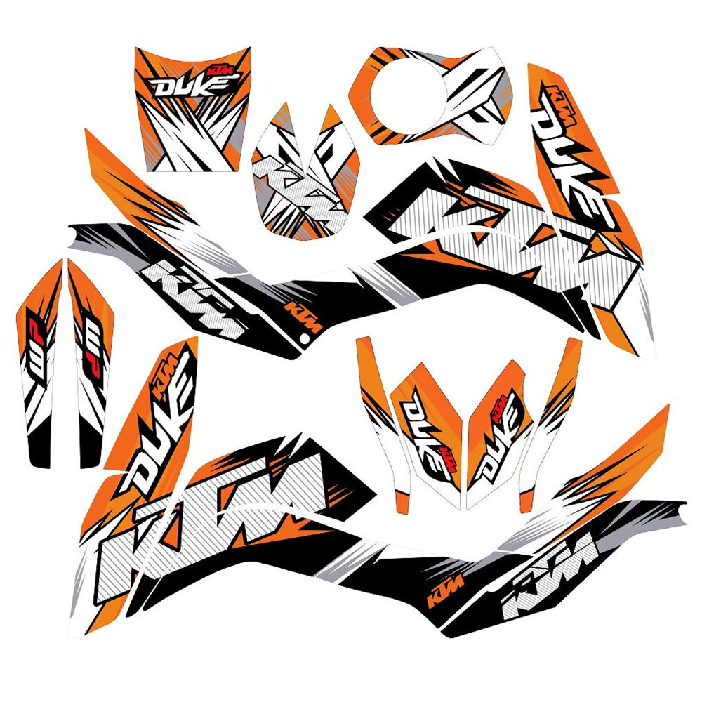 New Full Graphics Decals Stickers Custom Number Name 3M Bright Stickers Waterproof For KTM DUKE 125 200 390