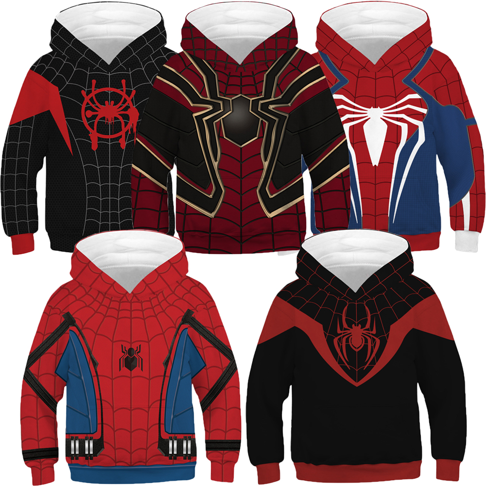Big Boy Spiderman Hoodies Spring Hooded Sweatshirt For Boys The Avengers 4 Variety Spider-man Kids Coats Children Pullover Tops