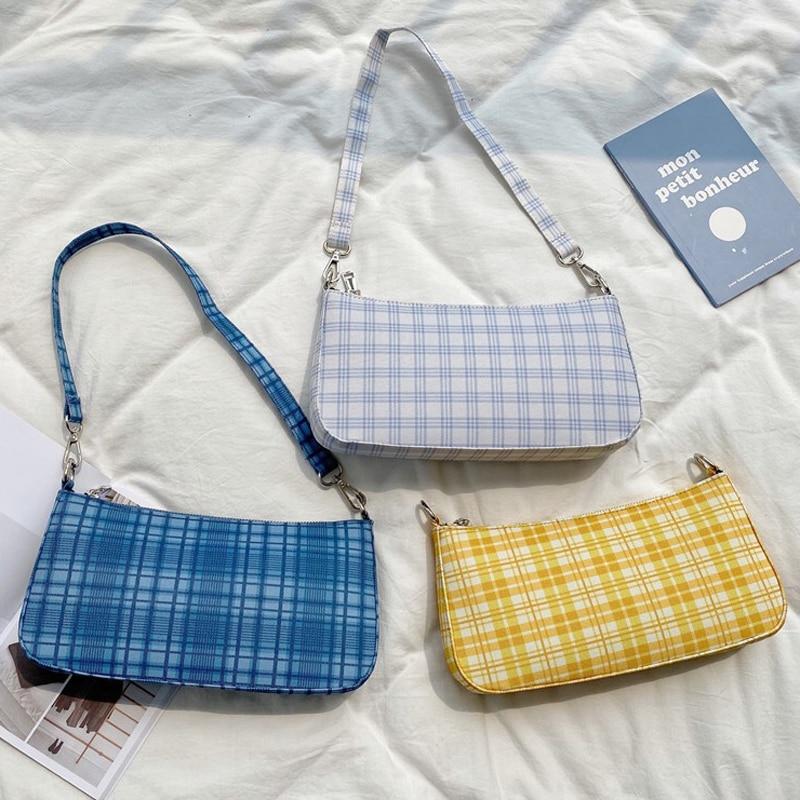 2020 New Women Baguette Bag Check Ladies Small HandBag Canvas Cotton Female Luxury Handbag Brand Designer Crossbody Shoulder Bag