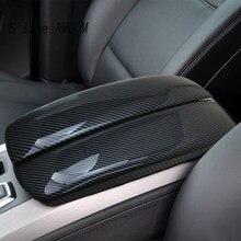 Car styling dla X5 X6 E70 E71 schowek z włókna węglowego Tidying podłokietnik ze schowkiem chroń naklejki listwa wykończeniowa akcesoria do wnętrz samochodowych