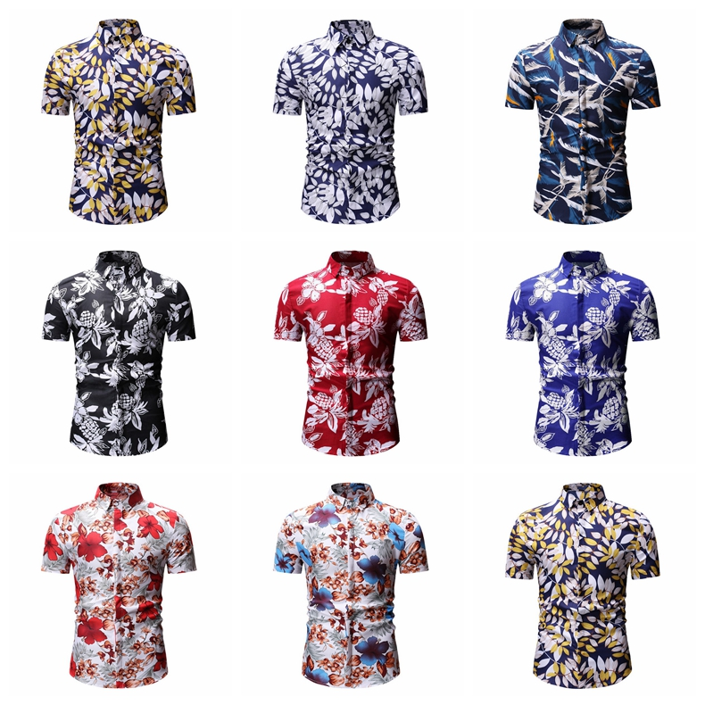 Mens Summer Beach Hawaiian Shirt Brand Short Sleeve Printed Design Shirts Men Casual Holiday Vacation Clothing Camisas 2019