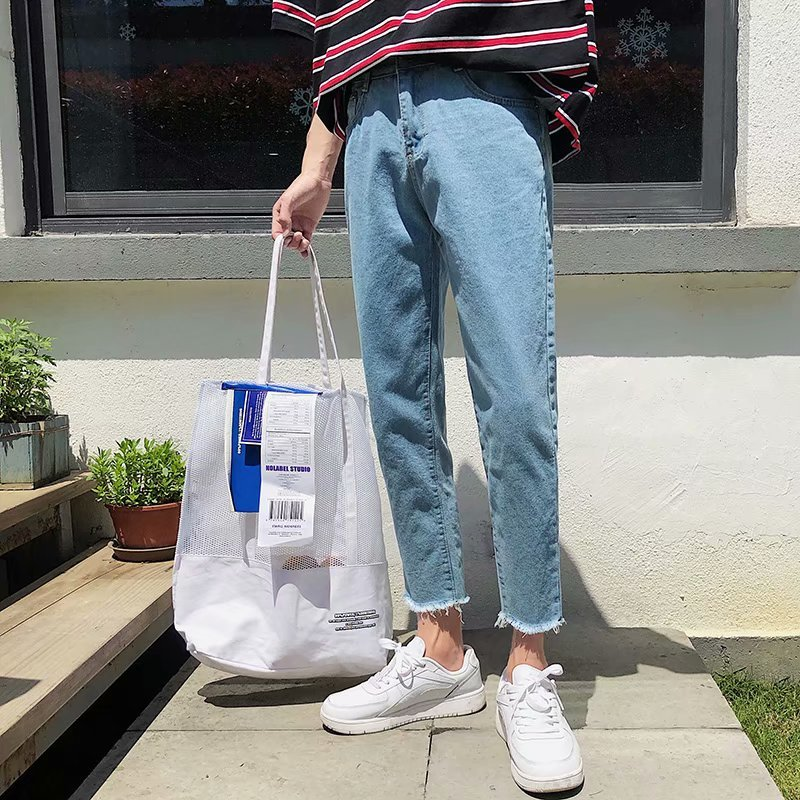Summer Jeans Men's Slim Fashion Washed Solid Color Casual Straight Jean Pants Men Streetwear Wild Hip Hop Denim Trousers Mens