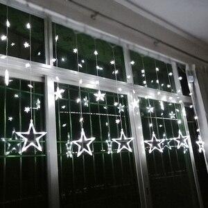 Image 2 - Ac110v 또는 220 v 휴일 조명 led 요정 조명 스타 커튼 문자열 luminarias 갈 랜드 장식 크리스마스 웨딩 라이트 3 m