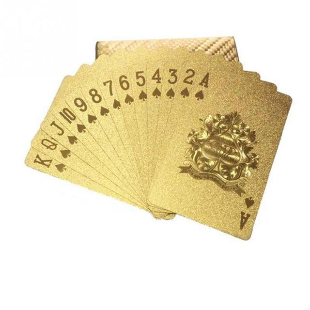 24K Gold Playing Quality Durable Plastic Cards Waterproof Golden Poker Black Collection  Diamond   Gift Standard 4