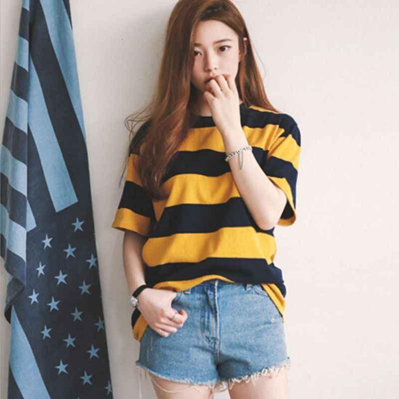 Wanita Kuning dan Hitam Bergaris Leher Leher Bulat Santai Lengan Setengah T-shirt Atasan Kasual