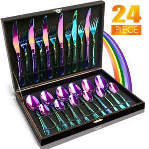 Flatware-Set Gift-Box Cutlery Rainbow 24pcs Tableware Stainless-Steel Kitchen Hotel Party