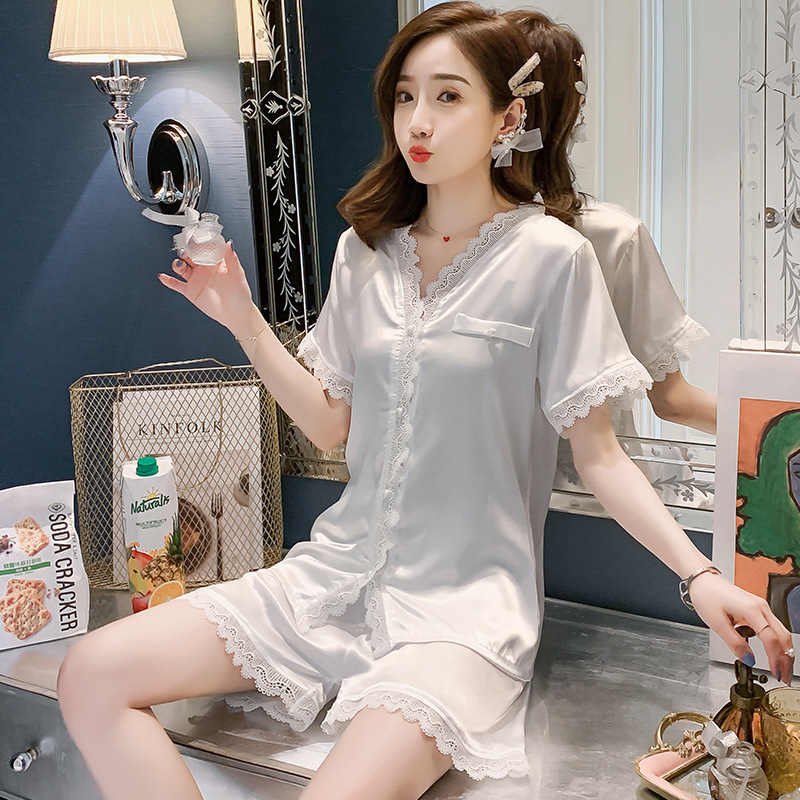 Summer Women's Pajamas Silk-like Suit Ice Silk Women's Home Clothes