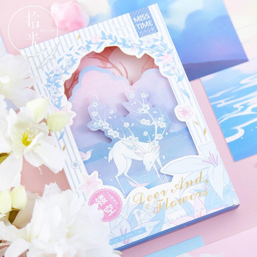 30 Pcs/Set Deer And Flowers Hollow Postcard DIY Illustration Greeting Cards Message Card  Journal Decoration