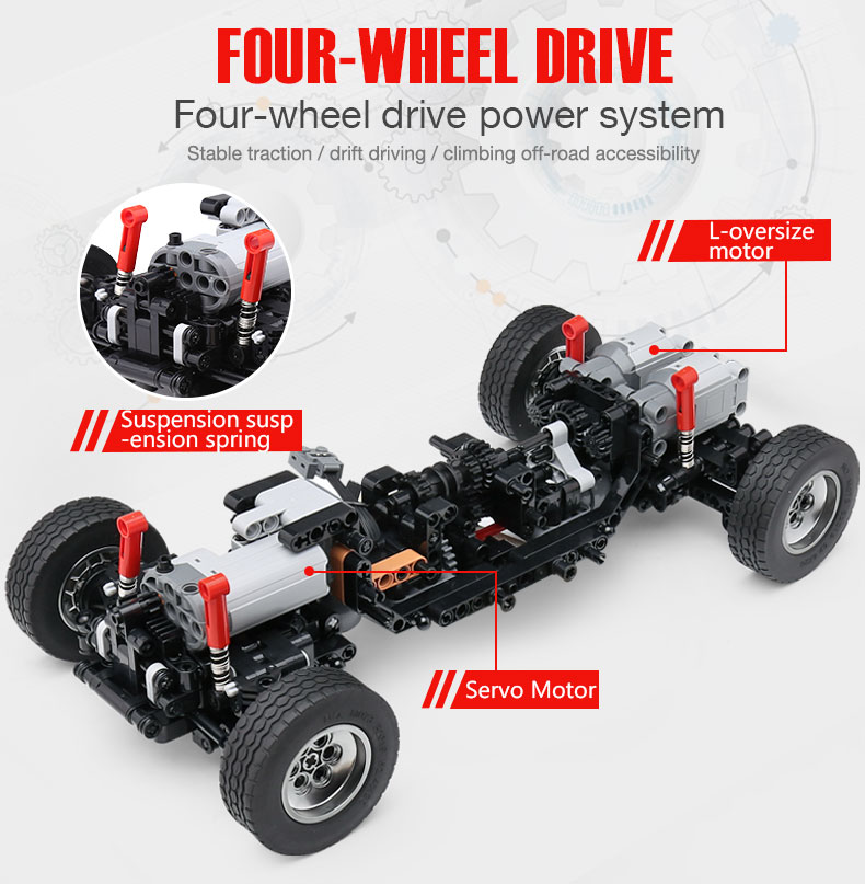New APP RC G-Glass G500 AWD Wagon SUV Vehicle Fit Technic MOC 2425 Motor Power Function Building Blocks Bricks Toy Kid Birthday 31